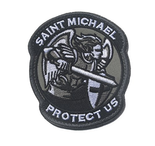 Saint Michael Modern Morale Patch Tactical Military Army Embroidered Sew on Tags Operator Patches with Hook and Loop Fasteners Backing-Multitan (Black) (Michael Patches St Morale)