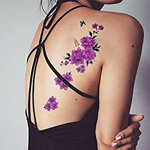 Tafly butterfly purple floral body art waterproof flower for Fake tattoos amazon