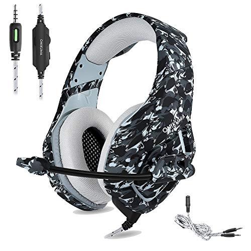 🥇 ONIKUMA Auriculares Gaming Cascos de Camuflaje Xbox One PS4 Headset