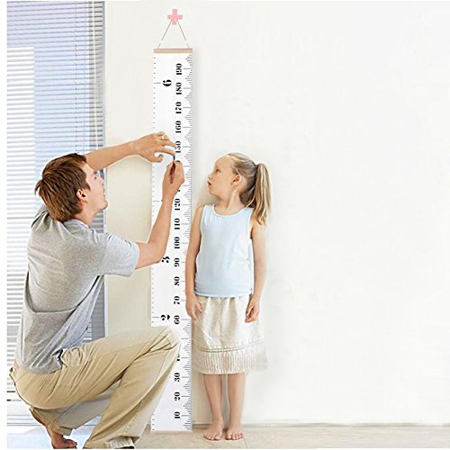 LALIFIT Kids Baby Height Growth Chart-Roll Up Wood Frame Fabric Hanging Ruler Children Nursery Room Wall Decor Baby Shower Gift, 79