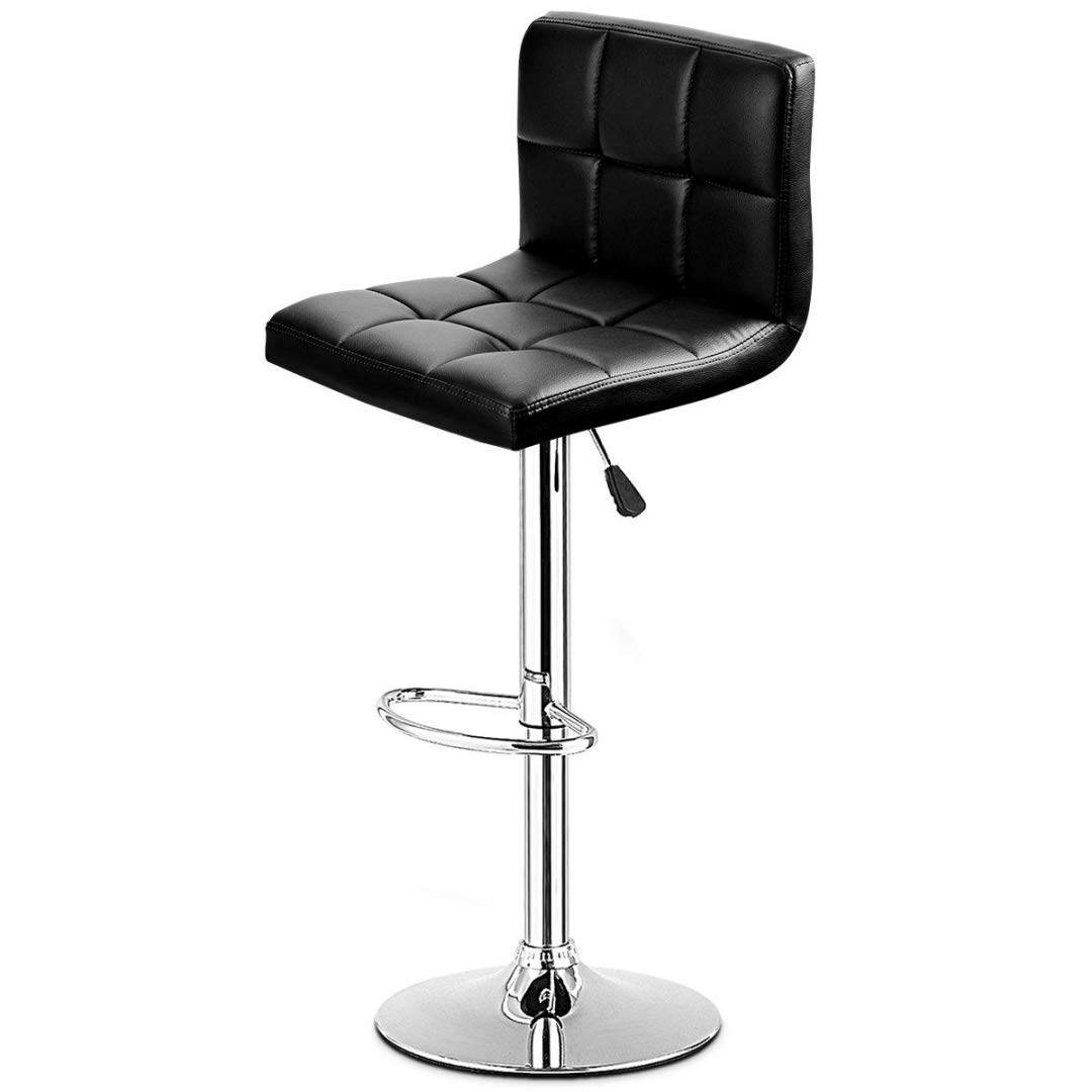 Contemporary Design Bar Stools Height Adjustable Built-in 360° Swivel Durable PU Leather Upholstery Seats Chrome Frame Finish Drafting Dining Chair Bar Bistro Home Office Furniture - [1] Black #2284