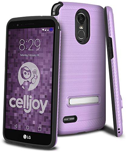 Celljoy Case compatible with LG Stylo 3, LG Stylus 3, LG Stylus 3 Plus, LG LS777 ((Brushed Metal Texture))[Carbon Fiber][Kickstand] Slim Fit Hybrid TPU Skin/Hard Shell ((Shockproof)) ()