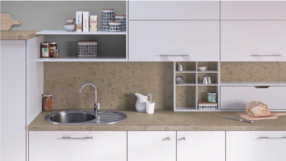 Egger Contemporary Trento Grey - Beige Effect Kitchen Bathroom Laminate Worktop Offcut Work Surface 40mm Breakfast Bar - 1m x 600mm x 38mm Worktop