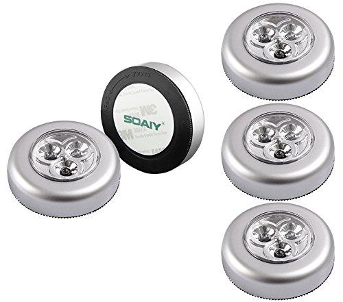 SOAIY® 5er-Set Stick&Push LED Touch Lampe Nachtlicht Leuchten Batteriebetrieben selbstklebend Küchenlampen Schrankleuchten