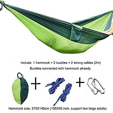 "Outdoor Hammock Portable Outfit Parachute Suspension Nylon Large Double Lightweight Hammock Tree Straps with Carabiners&Ropes for Backpacking, Camping, Hiking, Travel, Yard, 106""55"" (WSTECHCO)"