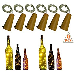 10 LED Bulbs Cork Lights Battery Powered (6 pcs) - 39 Inch Long String Wine Bottle Cork Fairy Lights for Bottle DIY, Table Decorations, Christmas, Wedding, Dancing, Halloween, Party, Festival Decor