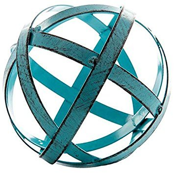 Blue Metal Band Decorative Sphere (Teal Accent Pieces)