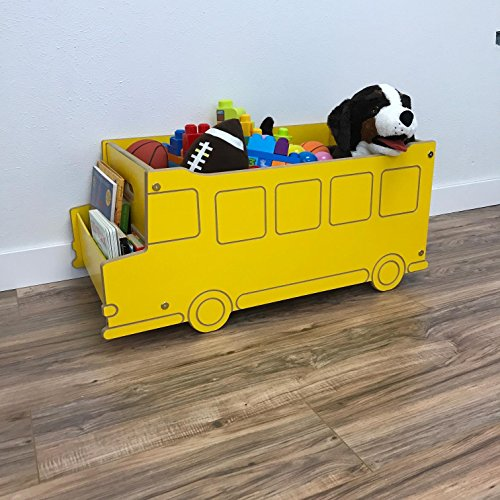 Little Colorado School Bus Themed Toy Box – Comes without Lid / Includes Book Nook / Handcrafted Kids Furniture by Little Colorado