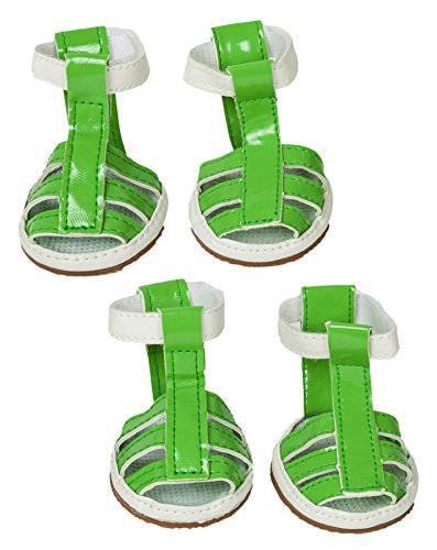 PET LIFE 'Buckle Supportive' PVC Waterproof Pet Dog Sandals Shoes Booties - Set of 4, Small, Neon Green from Pet Life