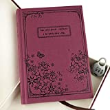OFKP® Portable Retro Style Hard Cover Diary Notebook Journal Notepad with Coded Lock (Wine Red)