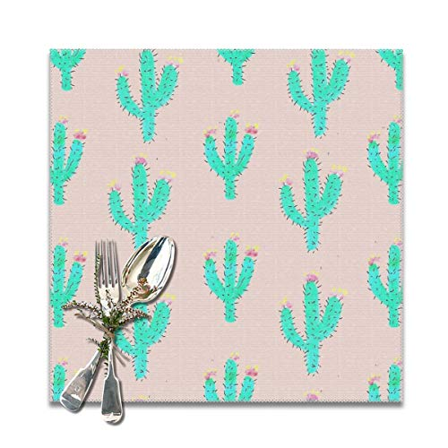 JML-LUV Drawn Cactus Tumblr Placemats Set of 6/4 for Dining Table Washable Non-Slip Wear and Heat Resistant Kitchen Table Mats Easy to Clean, 12x12 in ()