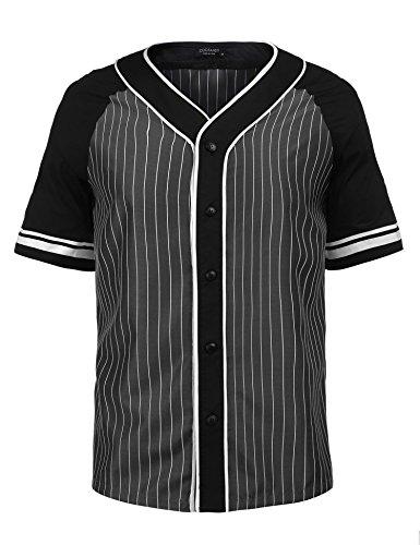 Coofandy Men S Hip Hop Hipster Button Down Baseball Jersey