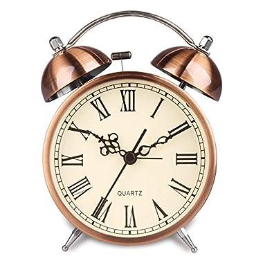HENSE Twin Bell Alarm Clock Battery Power Night-light Loud Alarm Roman Character Copper Clock Ha41 (4.5 Roman character)