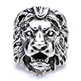 Beydodo Mens Silver Ring, Vintage Lion King Head Ring Size 8 Men Rings Hip Hop