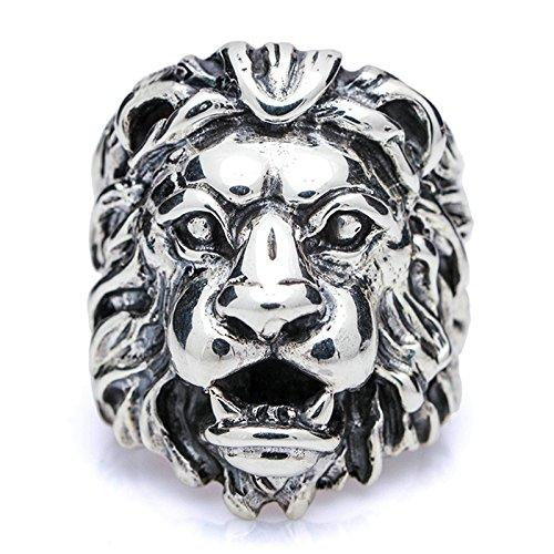 Lion Head Ladies Ring - Beydodo Mens Silver Ring, Vintage Lion King Head Ring Size 10.5 Punk Biker Ring Bands