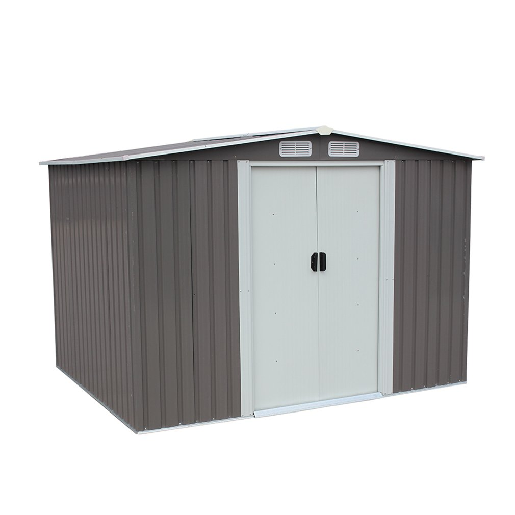 BestMassage 6'×8' Outdoor Steel Metal Garden Storage Shed Tool House W/ Sliding Door