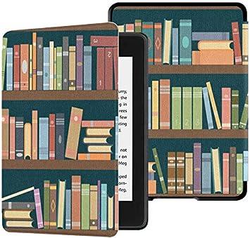 Kindle Paperwhite Ereader Case Retro Cartoon Art Bookshelf Book ...