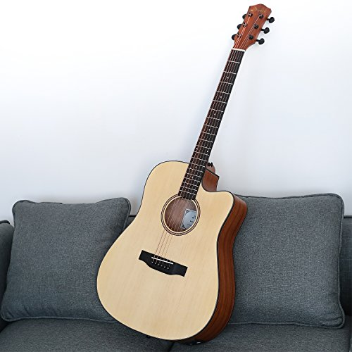 Donner DAG-1CE Electric Acoustic Guitar Cutaway 41'' Full-size Guitar Bundle Built-in Preamp with Bag Strap Tuner String - Image 5