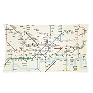 london underground subway map lines custom rectangle bed pillow cases 20x36 twin sides by pillow cover