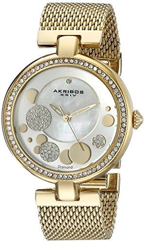 Akribos XXIV Women's AK881YG Round White Mother of Pear, Silver and Yellow Gold Dial Three Hand Quartz Gold Tone Bracelet Watch