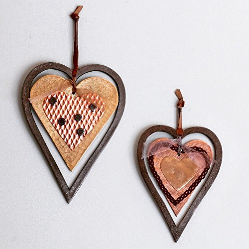 Buy rivet and rust iron hanging hearts set of 2
