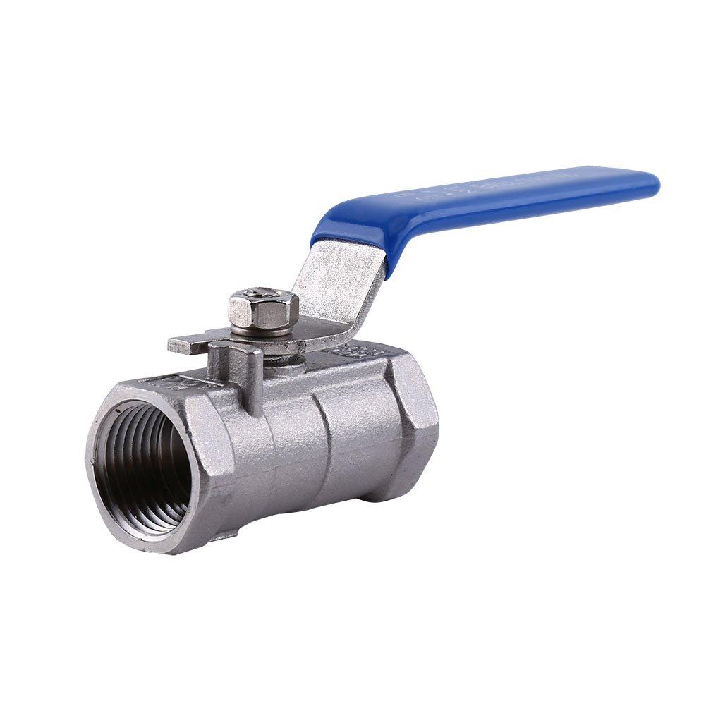 Valvola a sfera filettata 1pz 1//2 \in acciaio inossidabile SS 304 BSPT per acqua olio e gas con maniglie di bloccaggio blu