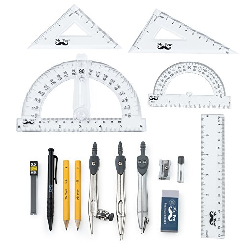 Mr. Pen- 15 Pcs Compass Set with Swing Arm Protractor (6), Geometry Set for Students, Geometry Set for School, Divider, Set Squares, Ruler, Protractor, Compass Math, Compass and Protractor, Eraser