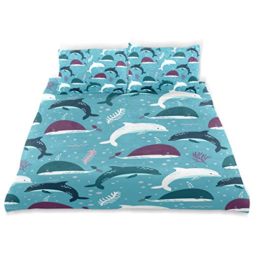 Amanda Billy Miami Dolphin Costume Fun Bedding 3 Piece Set Bedding Set Full Set 66 × 90 in Bed Cover, 2 Pillowcase Pattern Soft Microfiber Bed Cover Set Children's Gift ()