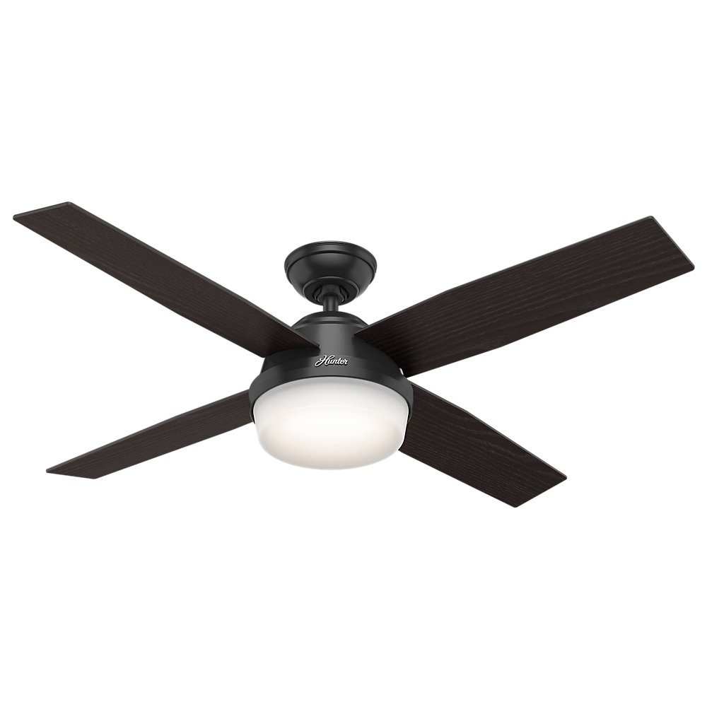 "Hunter Fan Company 59251 Hunter 52"" Dempsey Damp Matte Black Ceiling Fan with Light and Remote, Pwt, Nickel, B/S, Silver."