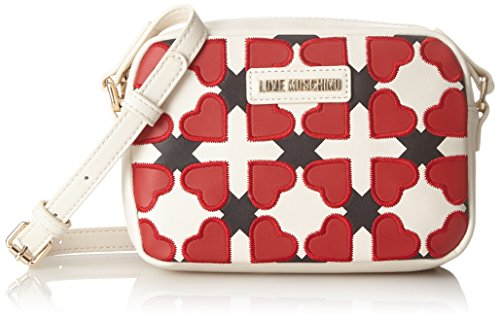 Love Moschino Borsa Pu Avorio/nero/rosso, Bolsos baguette Mujer, Varios colores (Ivory-black-red), 6x15x21 cm (B x H T)