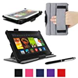 """rooCASE Amazon Kindle Fire HDX 7 Case Slim Fit Multi Angle Tablet 7-Inch 7"""" Stand Cover - BLACK"""