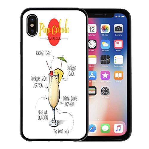 (Emvency Phone Case for Apple iPhone Xs Case/iPhone X Case,Martini Black Glass of Cocktail Pina Colada Collection Orange Soft Rubber Border Decorative, Black)