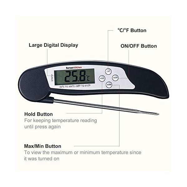 Bonsenkitchen Termometro Cucina Digitale, Termometro da Carne a Lettura istantanea per grigliate, Barbecue e Bevande… 7