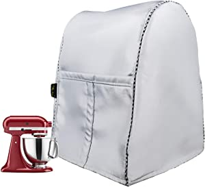Stand Mixer Cover/Kitchen Mixer Cover with Organizer Bag, Fits All Tilt Head & Bowl Lift Models(W11.8D11H16in,Silver)