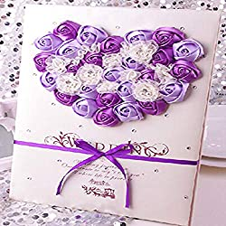 Aimeart European Style Wedding Guest Book With Lace Guest Sign-In Book/Guest Registry/Guestbook for Bridal Shower Party Engagement Party Favors, Dark Purple & Light Purple