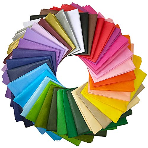 "Supla 180 Sheets 36 Colors Tissue Paper Bulk Wrapping Tissue Paper Art Rainbow Tissue Paper 20 x 26"" for Art Craft Floral Birthday Party Festival Gift Wrapping Decorative Tissue Paper Pom Pom"
