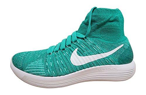 Nike Vrouwen Lunarepic Flyknit High-top Hardloopschoen Wit / Turquoise