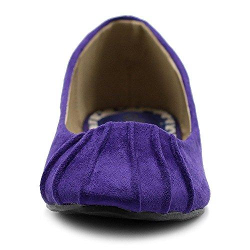 Ollio Mujeres Ballet Shoe Confort Faux Suede Flat Purple