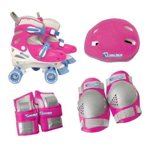 Chicago Girls Quad Roller Skate Combo, - Pads Pink Knee Construction