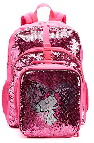 Kids Flippable Sequins''I Love Unicorns'' Backpack & Lunch Bag Set by A22