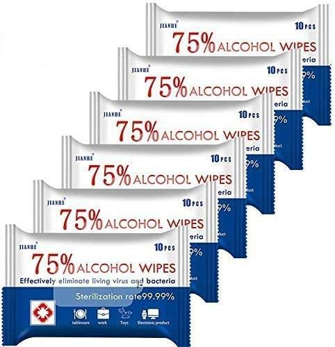Alcohol Wipes 75% Alcohol Detergent Wipes, Large Wet Wipes Travel for All-Purpose Cleaning (6Pack)