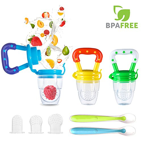 Baby Food Feeder, YCGRE Reusable Fresh Fruit Feeder Pacifier BPA Free Infant Teething Toy with 2 Pack Baby Feeding Spoons for Toddler & Kids Bonus 3 Pcs Replacement Silicone Pouches (Boy) from YCGRE