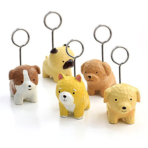 Chris-Wang 5Pcs Mini Cute Dog Mixed Style Memo Clip Holder Display for Cards/Notes/Photos/Pictures/Placecards- Resin Base and Metal Wire loop