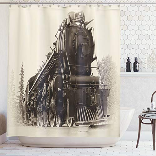 Ambesonne Steam Engine Shower Curtain Set, Antique Northren Express Train Canada Railways Photography Freight Machine Print, Fabric Bathroom Decor with Hooks, 84 Inches Extra Long, Tan Taupe