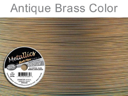 Soft Flex Best Beading Wire Antique Brass .019 Inch - 30 - Beading Brass