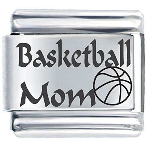 I Love Basketball And Mom Italian Charm Laser Italian Link Charm Bracelet