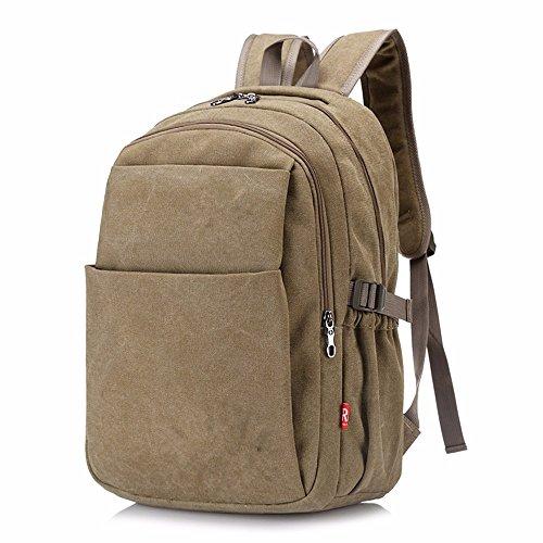DIUDIU Schultertasche Herren Canvas Rucksack Retro Casual Reisetasche weiblichen Tide Computer Taschen High School College Taschen khaki