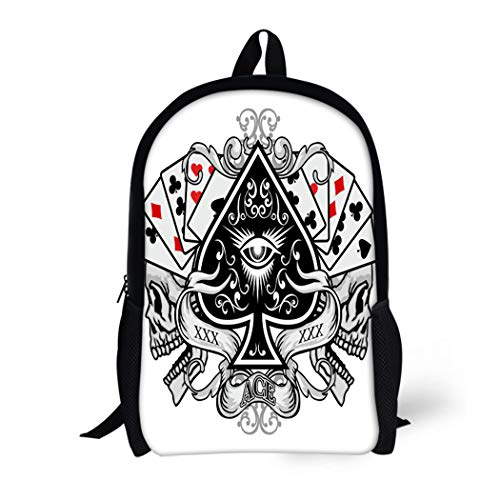 Pinbeam Backpack Travel Daypack Queen Gothic of Arms Skull and Ace Spades Waterproof School Bag