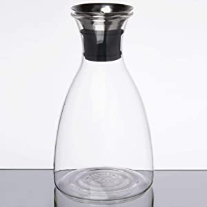 """52 oz. 5.38"""" Glass Carafe with Dripless pour lid, Glass, Dishwasher Safe, Decanter Pitchers great for Entertaining by GET GL-CRF-52 (Pack of 1)"""
