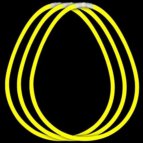 Fun Central (J3) 100ct 22 Inch Yellow Premium Glow Stick Necklaces, Cool Glow Sticks - for Glow in the Dark Party, Rave Party, Disco Party, Concert, Festivals, Birthday, Party Favors (22 Premium Glow Necklaces)